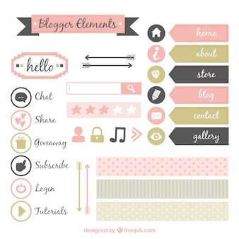 Set of cute vintage blog elements