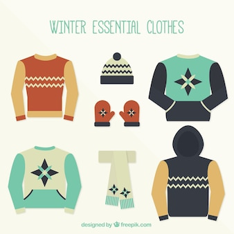 Set of cute winter clothes in flat design