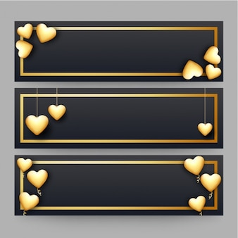 Set of dark banners with golden hearts