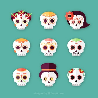 Set of day of the dead mexican skulls