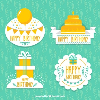Set of decorative birthday labels