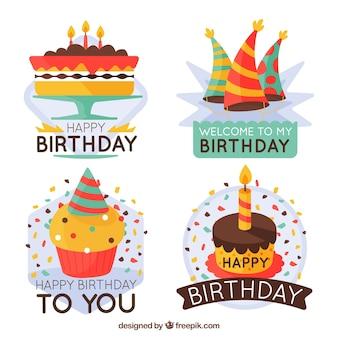 Set of decorative birthday stickers