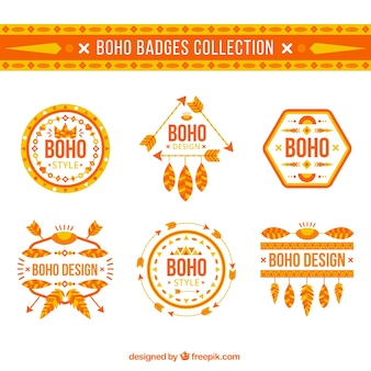 Set of decorative boho badges