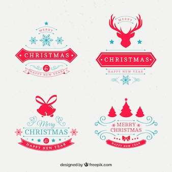 Set of decorative christmas badges in retro style