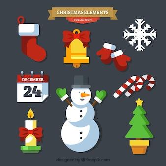 フラットデザインの装飾的なクリスマスの要素のセット