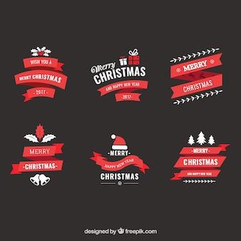 Набор декоративных рождественских лент в винтажном стиле