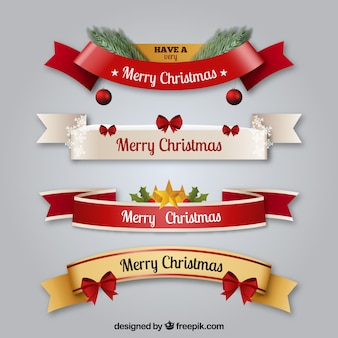 Set of decorative christmas ribbons