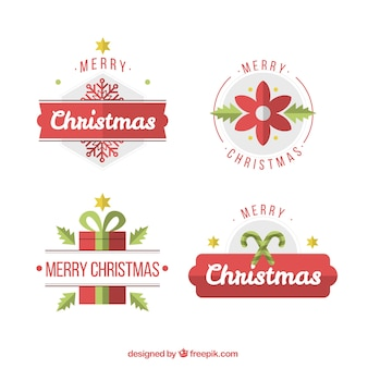 Set of decorative christmas stickers in flat design