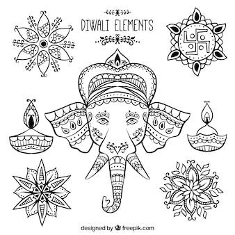 Set of decorative diwali and ganpati elements