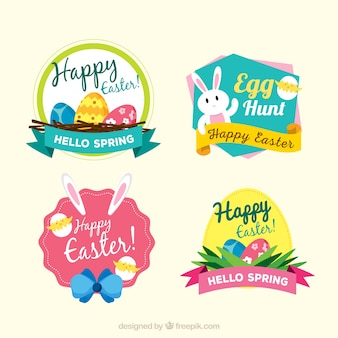 Set of decorative easter day stickers