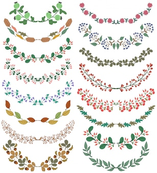 Set of decorative floral dividers