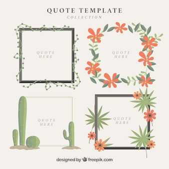 Set of decorative floral frames for quotes