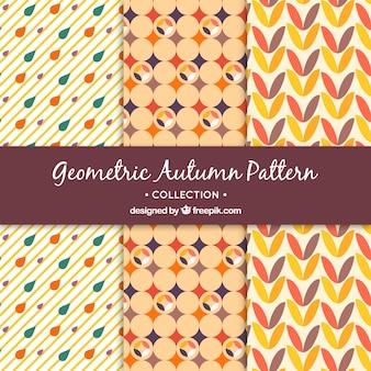 Set of decorative geometric autumn patterns