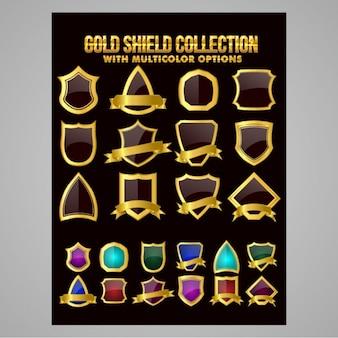 Set of decorative golden shields