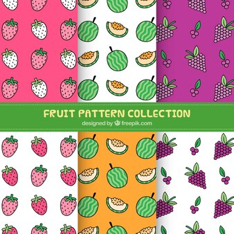 Set of decorative hand drawn fruit patterns