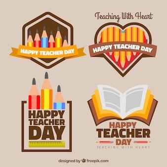 Set of decorative happy teacher's day stickers
