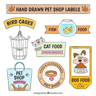 Set of decorative pet shop stickers
