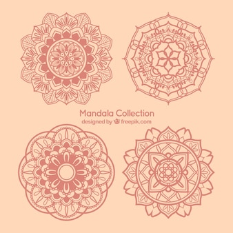 Set of decorative pink hand drawn mandalas