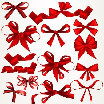 Set of decorative red ribbons