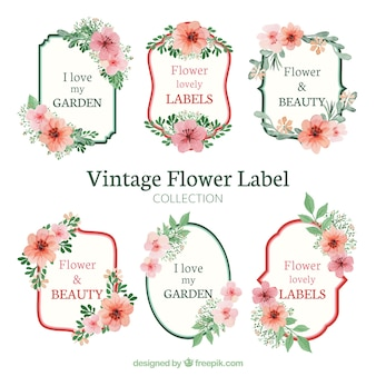 Set of decorative stickers with flowers