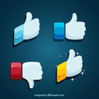 Set of decorative thumbs up