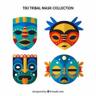 Set of decorative tiki masks in flat design