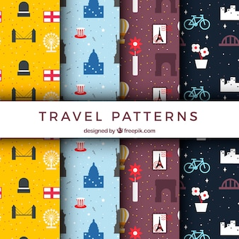 Set of decorative travel patterns in flat design