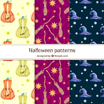 Set of decorative watercolor halloween patterns