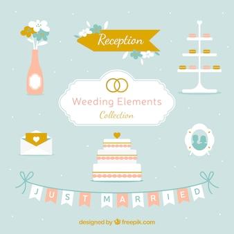 Set of decorative wedding elements