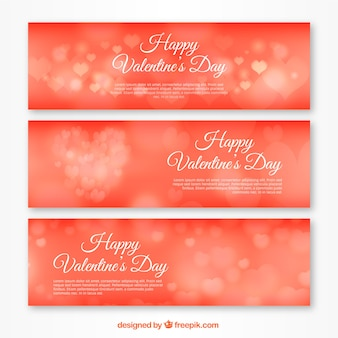 Set of defocused valentine banners with bokeh effect