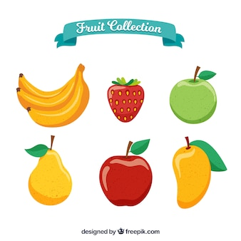Set of delicious fruits