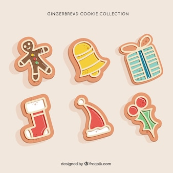 Set of delicious gingerbread christmas cookies