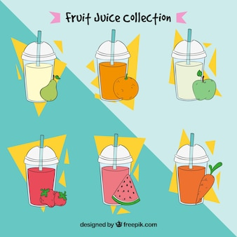 Set of delicious hand-drawn juices