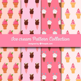 Set of delicious ice cream patterns
