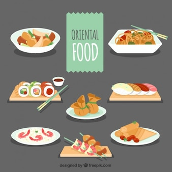 Set of delicious oriental food menus