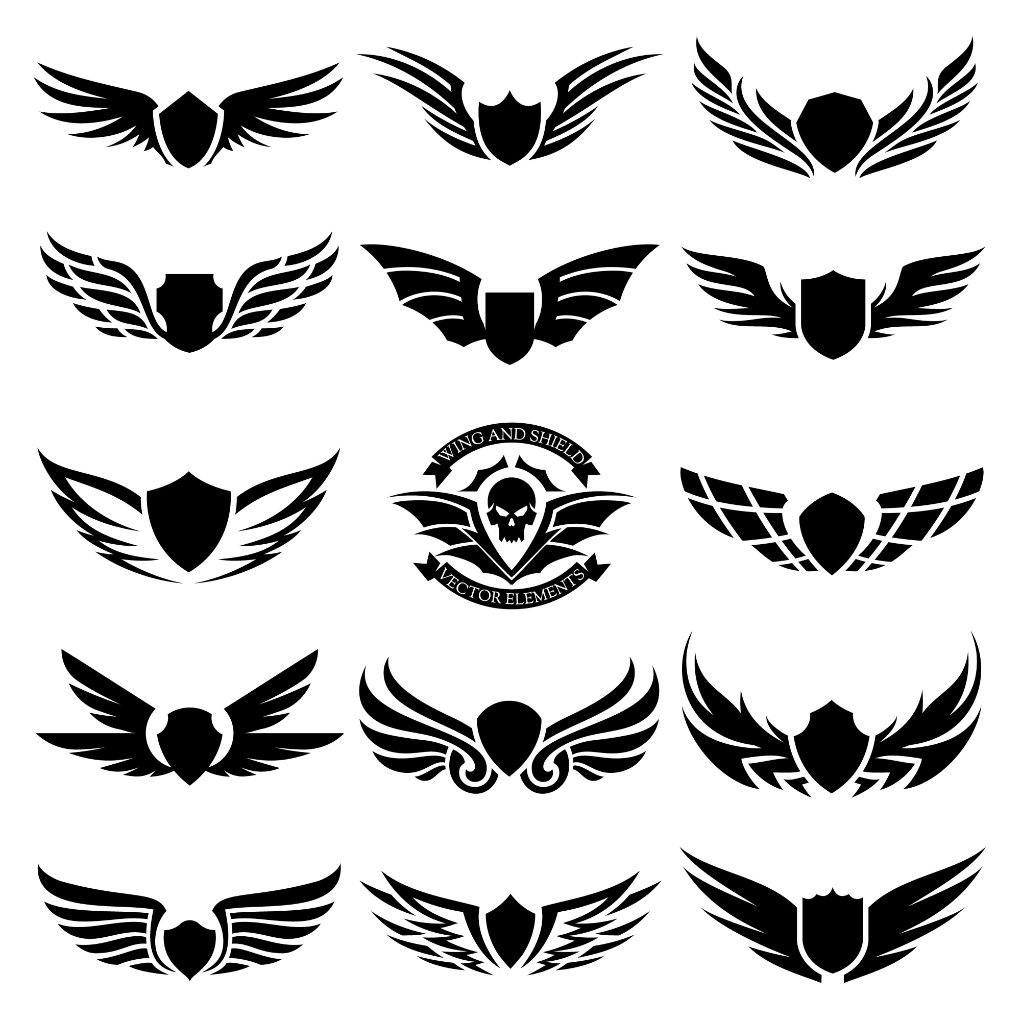 Set of design elements.  Design for Icon and wing logo