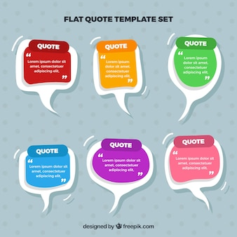 Set of dialog balloons for hand drawn quote