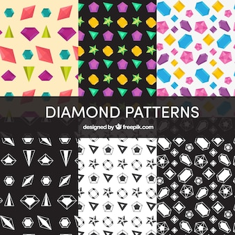 Set of diamond patterns with variety of designs