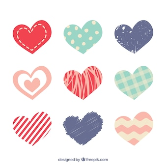 Set of different abstract hearts