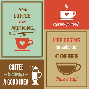 Set of different coffee cards