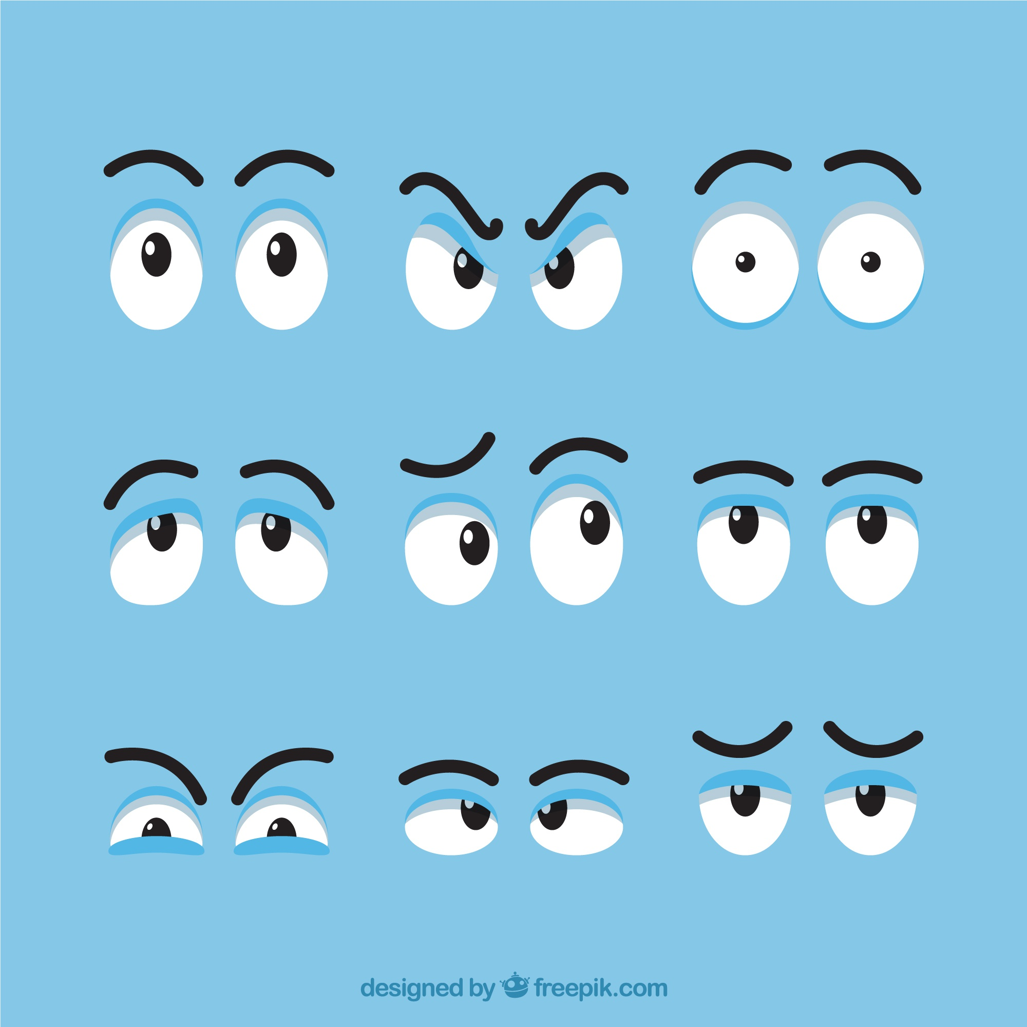 Set of different expressive eyes for cartoon
