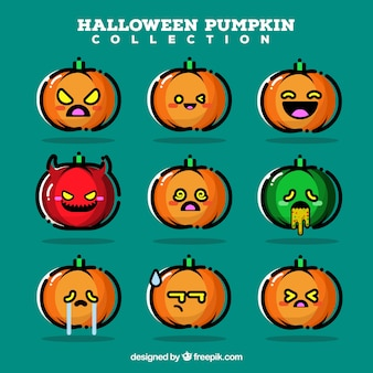 Set of different halloween pumpkins in linear style