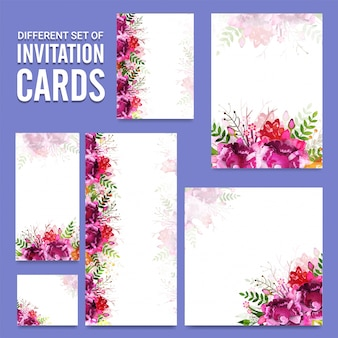 Set of different invitation cards with floral design.