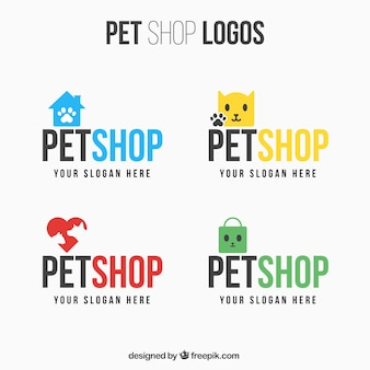 Set of different logos for pet shop