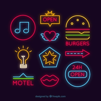 Set of different neon signages