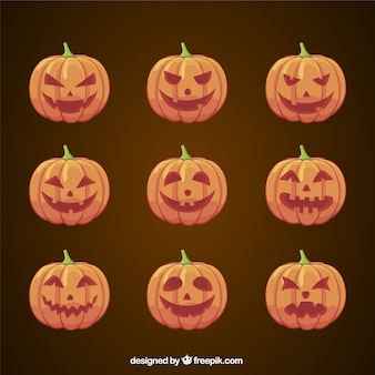 Set of different pumpkins with faces