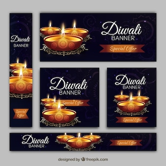 Set of diwali banners with golden candles