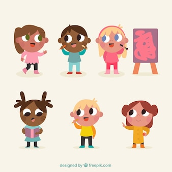 Set of drawings of children with big eyes
