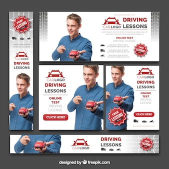 Set of driving school banners