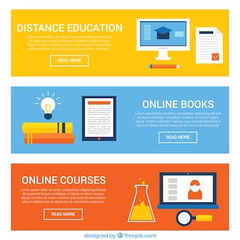 Set of e-learning banners in flat design